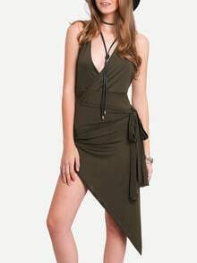 Green Spaghetti Strap Asymmetrical Sexy Dress