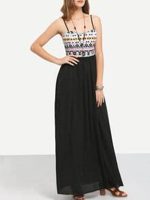 Black Spaghetti Strap Tribal Maxi Dress