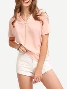 Pink Batwing Sleeve V-neck Dip Hem Blouse