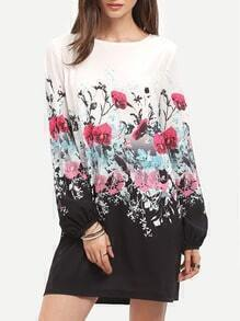 Muliticolor Floral Print Boat Neck Long Sleeve Shift Dress