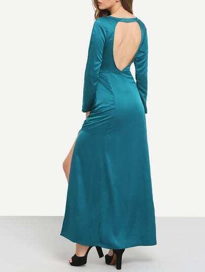 Green Teal Promdress Long Sleeve Backless Split Maxi Dress