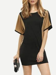 Color Block Batwing Sleeve Casual Dress