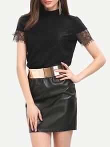 Black Mock Neck Lace Cuff T-Shirt
