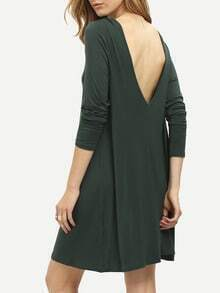 Dark Green V Back Shift Dress