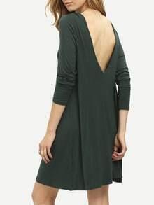 Dark Green V Back Shift Dress