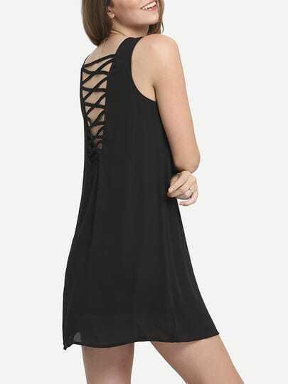 Black Sleeveless Criss Cross Shift Dress