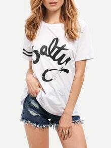 White Salty Print Stripe Sleeve Casual T-shirt