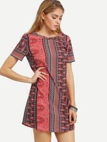 Multicolor Cut Out Back Vintage Print Dress