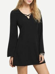 Black Hollow Out Neck Shift Dress