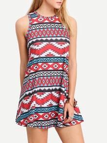 Multicolor Vintage Print Round Neck Shift Dress