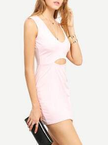 Pink Deep Plunge Neck Cut Out Bodycon Dress