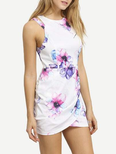 White Contrast Cut Out Floral Wrap Dress