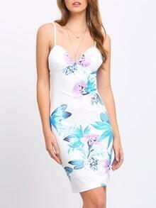 Multicolor Floral Print Spaghetti Strap Dress