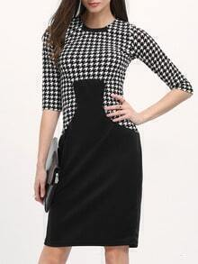 Black White Crew Neck Houndstooth Split Dress