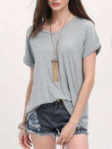 Grey V-neck Roll Up Cuff Casual T-shirt