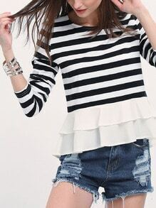 Black White Long Sleeve Striped Ruffle T-Shirt