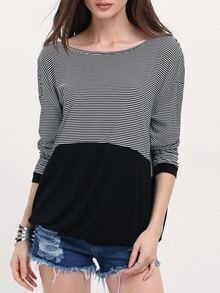 Black Crew Neck Striped T-Shirt