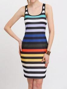 Multicolor Scoop Neck V-Back Striped Sheath Dress