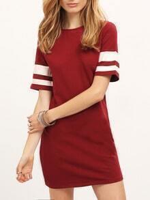 Burgundy Crew Neck Stripe Contrast T-shirt Dress
