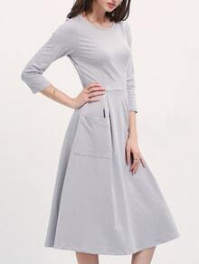 Grey Boat Neck Pockets Midi Dress