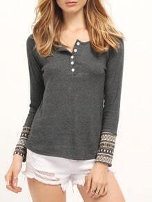 Grey Long Sleeve Buttons T-Shirt
