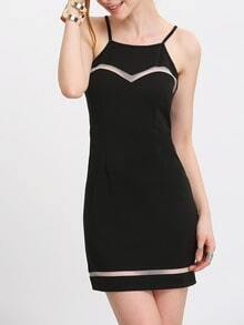 Black Transparent Panel Spaghetti Strap Bodycon Dress