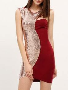 Burgundy One Shoulder Sequined Bodycon Dress