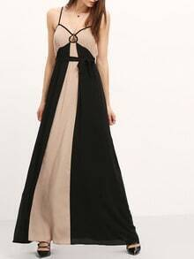Black Grey Spagettic Strap Color Block Maxi Dress