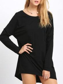 Black Round Neck V Back Dress