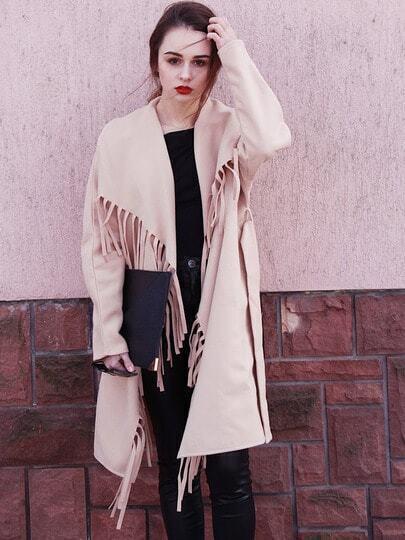Khaki Long Sleeve Lapel Tassel Coat