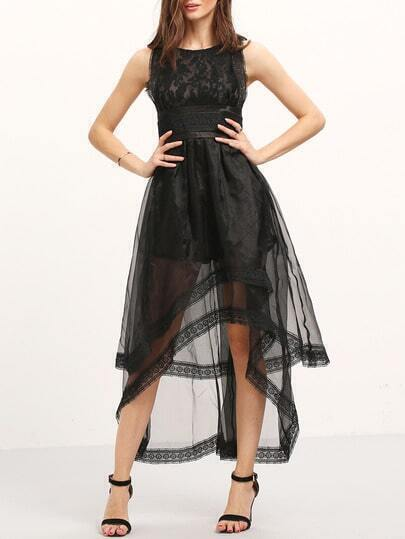 Black Sleeveless Lace High Low Dress