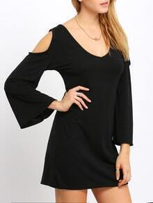 Black Deep V Neck Bell Sleeve Dress