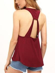 Burgundy Twist Back Flowy Tank Top