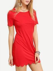Red Scalloped Hem Dress