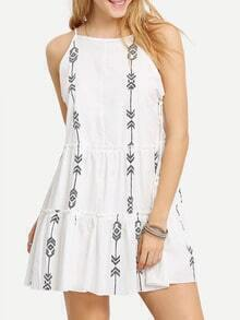 White Black Print Lace Up Side Spaghetti Strap Dress