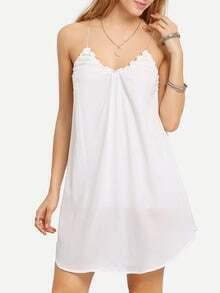 Ruffled Crisscross Back Assymetrical Cami Dress
