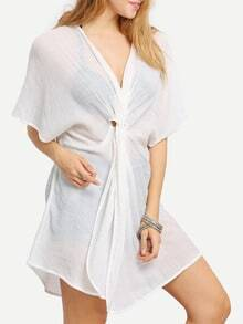 Beige Plunge V-neck Twist Front Casual Dress