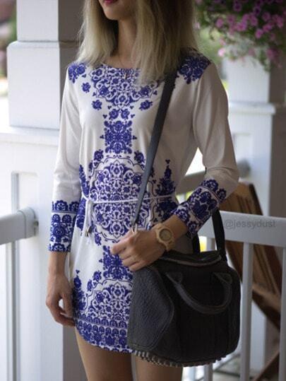 Blue Chemise Long Sleeve With Belt Vintage Print Dress