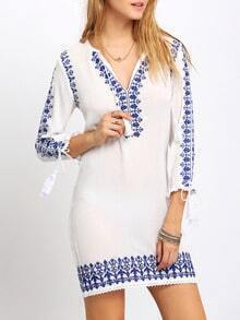 White Deep V Neck Vintage Print Dress