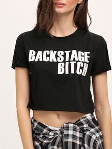 Black Short Sleeve Letter Print Crop T-Shirt