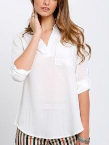 Beige V Neck Long Sleeve Loose Blouse