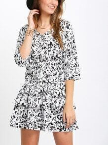 White Aztec Print Drop Waist Dress