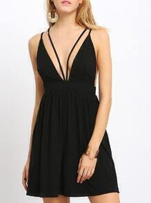 Black Criss Cross Backless Spaghetti Strap Dress