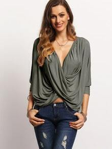 Green V Neck Wrap Front T-Shirt