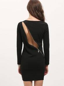 Black Long Sleeve Backless Zip Bodycon Dress