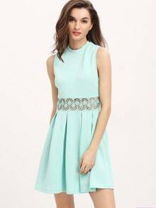 Green Sleeveless Hollow Flare Dress