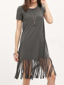 Grey Tassel Hem Short Sleeve Casual Dress