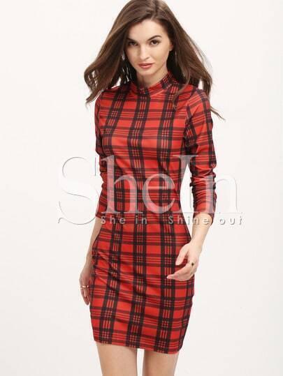Red Plaid Mock Neck Bodycon Dress