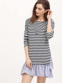 Blue Striped Flounce Dress