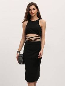 Black Knee Length Cut-out Front Bodycon Dress